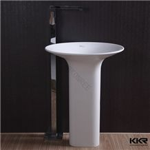 Cast Stone Round Bathroom Freestanding Solid Surface Basin