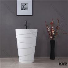 For Smaller Cloakrooms Black Freestanding Wash Basin, Resin Stone Solid Surface Sinks & Basins
