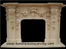 Beige Limestone Flower Handcarved Fireplace Mantel / Fireplace Hearth
