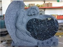 Blue Pearl Angel Sculpture Statue Monument Headstone by Hand Carving
