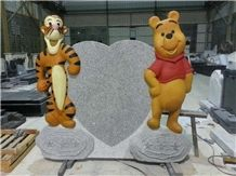 Cartoon Heart China Gray Granite Pet Monument Headstone Design