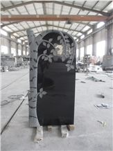 Shanxi Black Granite Tree Engraved Sculpture Monuments Design