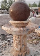 Big Granite and Marble Fountain with Ball