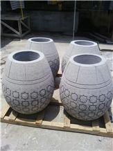 Carved Stone Flower Port, Grey Granite Flower Pot