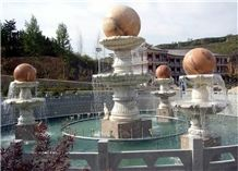 Dw Rolling Sphere Fountain in Cluster, Beige Granite Fountains