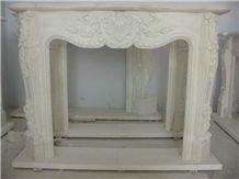 Flower Carved Fireplace ,White Marble Fireplace