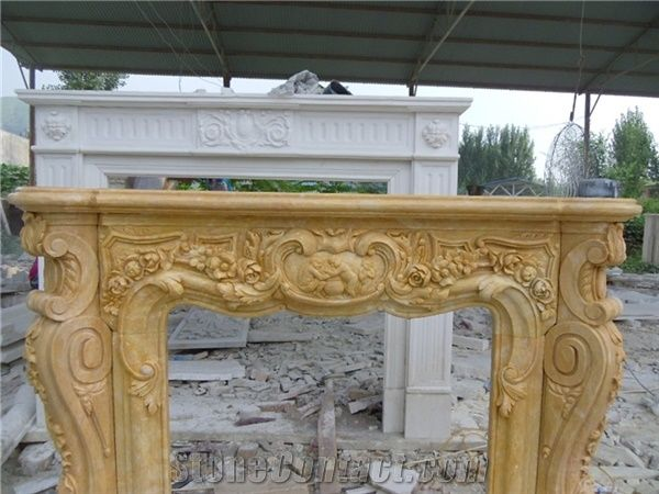 Indoor Freestanding Fireplace Mantel Beige Marble Fireplace From China Stonecontact Com