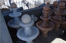 Small Marble and Granite Floating Ball Fountain, White Granite Floating Ball Fountains