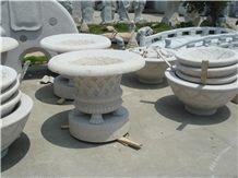 White Granite Round Flower Pots