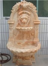 Stone Fountain Carved Marble Lion Head Water Fountain for Garden Outdoor (Ykof-3)