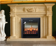 Beige Marble Carving Fireplacemantel