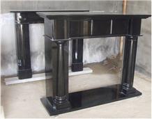 Black Granite Carving Fireplace Mantel