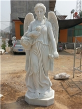 Flower Angel Sculpture, Pure White Marble