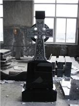 Tombstone Cross Shanxi Black Granite Tombstone