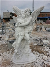 White Marble Carving Angel, Lover Angel Carving
