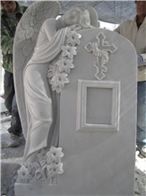 White Marble Carving Angel Tombstones, Headstones
