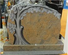 Granite Monument with Carved Tree, Cachemire/Multicolor Red Granite Monuments