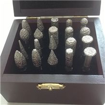 2014 High Quality Stone Carving Diamond Burr Vacuum Brazed Diamond Engraving Bits 20 Pcs a Set