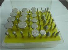 3.17mm Diamond Brazed Burrs for Jade Carving 50 Pcs a Set