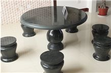 Wellest Black Marquina Marble Table and Stool,Round Stone Table and Stool, Stc038