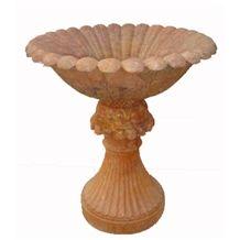Wellest Copper Yellow Marble Flower Pot,Natural Stone Outside Garden Flower Pot,Item No.Sgp010
