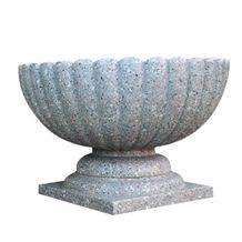 Wellest G606 Granite Round Garden Flower Pot,Natural Stone Outside Garden Flower Pot,Item No.Sgp003