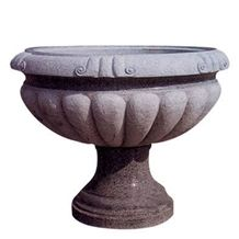 Wellest G654 Granite Round Garden Flower Pot,Natural Stone Outside Garden Flower Pot,Item No.Sgp004