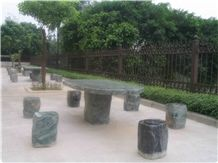 Wellest Imperial Green Granite Table and Stool ,Square Stone Table and Stool, Stc 044