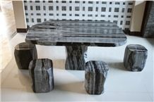 Wellest Imperial Green Granite Table and Stool ,Square Stone Table and Stool, Stc 049