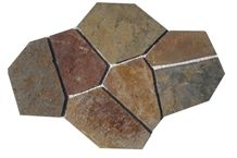 Wellest Rustic Brown,Multi Color Slate Flagstone,Meshed Paver Stone,7 Pieces Type,Item No.Ms009