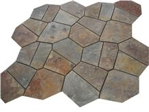 Wellest Rustic Brown,Rusty Brown,Multi Color Slate Flag Stone,Meshed Paver Stone,7 Pieces Type,Item No.Ms018
