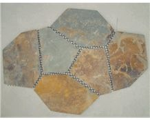Wellest Rustic Brown,Rusty Brown,Multi Color Slate Flagstone,Meshed Paver Stone,6 Pieces Type,Item No.Ms003