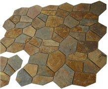 Wellest Rustic Brown,Rusty Brown,Multi Color Slate Flagstone,Meshed Paver Stone,6 Pieces Type,Item No.Ms025