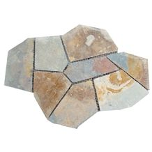 Wellest Rustic Brown,Rusty Brown,Multi Color Slate Flagstone,Meshed Paver Stone,8 Pieces Type,Item No.Ms006