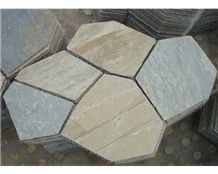 Wellest Yellow Wood Beige Slate Flagstone,Meshed Paver Stone,5 Pieces Type,Item No.Ms001