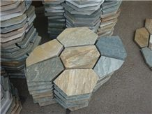 Wellest Yellow Wood Beige Slate Flagstone,Meshed Paver Stone,7pieces Type,Item No.Ms017