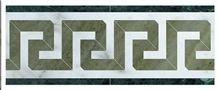 Greek Key Border Shown In: Statuario, Verde Laguna, Dark Green Marble