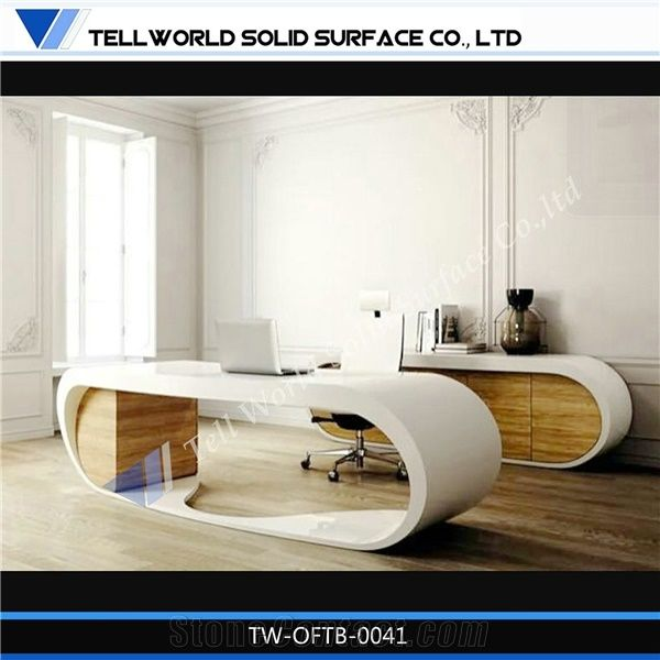 Supply Fashionable Office Furniture ,Luxury Office Desk With Round Shape,  Artificial Stone Furniture