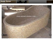 Jerusalem Light Yellow Limestone Mosaic Bath Tub