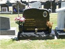 Black Granite Lawn Gravestone