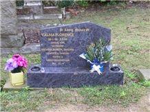 Lawn Memorials, Monuments, Silk Blue Granite Slant Grave
