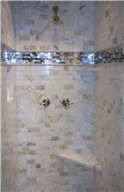 Calacatta Gold Marble and Glass Mosaic Shower Wall Aplication