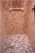 Honed Classic Travertine Mosaic Shower Wall, Beige Travertine Mosaic