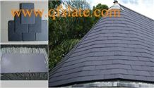 China Half Round Shape Dark Grey/Black Slate Roofing Tiles,Black Slate, Roofing Black Slate Stone,Roof Tiles
