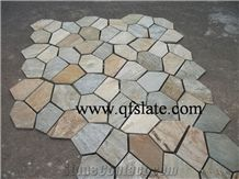 P014 Yellow Slate Stone Random Flagstone Mats