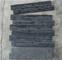 Z Shape Black Slate Stack Stone,Culture Stone,Stone Veneer, Jiujiang Black Slate Exposed Wall Stone ,Waterfall Slate Wall Cladding Tiles