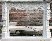 White Marble Wave Carving Fireplace Mantel