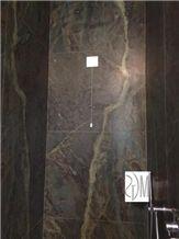 Shower Floor Designed with Verde Borgogna, Verde Borgogna Marble Bath Wall and Floor