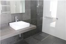 Bluestone Sawn 500x500 Penny Round White Gloss Mosaics, Victorian Bluestone Grey Blue Stone Bath Design