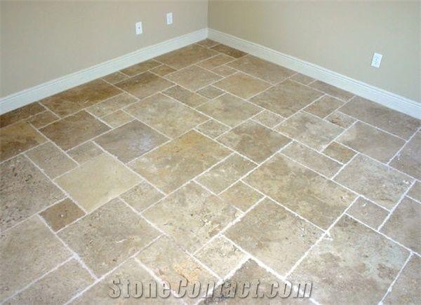 Tumbled Travertine Pattern Floor Tiles Turkey Beige Travertine From